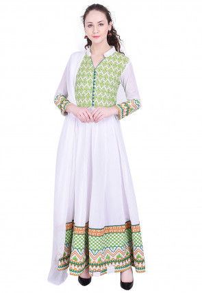 Printed Cotton Abaya Style Suit in White