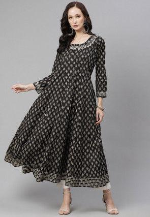 Printed Cotton Anarkali Kurta in Black