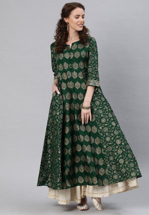 Printed Cotton Anarkali Kurta in Dark Green