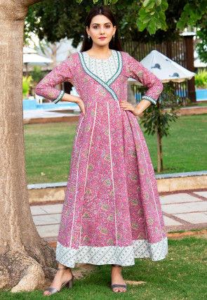 Printed Cotton Anarkali Kurta in Pink