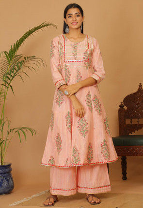 Printed Cotton Anarkali Kurta Set in Peach