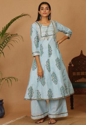 Printed Cotton Anarkali Kurta Set in Sky Blue