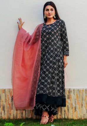 Printed Cotton Anarkali Suit in Black