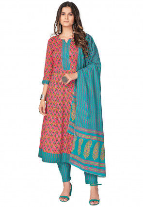 Printed Cotton Anarkali Suit in Coral Pink