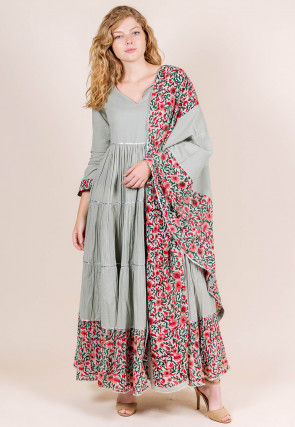 Printed Cotton Anarkali Suit in Light Grey