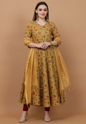 Printed Cotton Anarkali Suit in Light Mustard