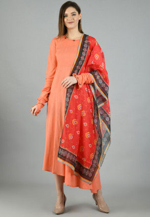 Printed Cotton Anarkali Suit in Peach