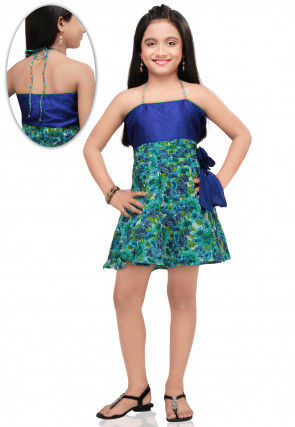 Printed Cotton and Dupion Dress in Blue
