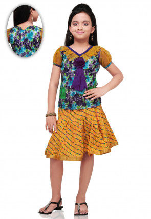 Printed Cotton and Dupion Silk Skirt Top in Purple and Mustard