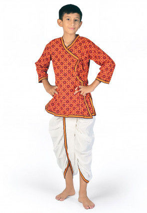 Printed Cotton Angrakha Kurta Dhoti Set in Red and White