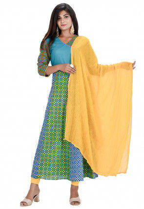 Printed Cotton Angrakha Style Anarkali Suit in Green and Blue
