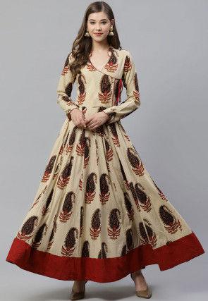 Printed Cotton Angrakha Style Kurta in Beige