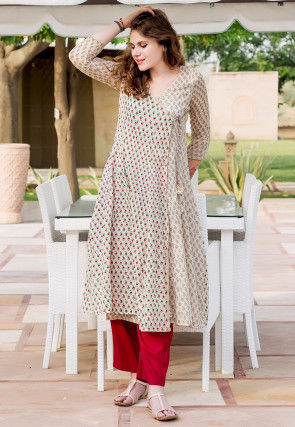 Printed Cotton Angrakha Style Kurta Set in Light Beige