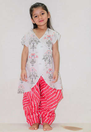 Printed Cotton Angrakha Style Kurta Set in White
