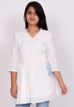 Printed Cotton Angrakha Style Top in White