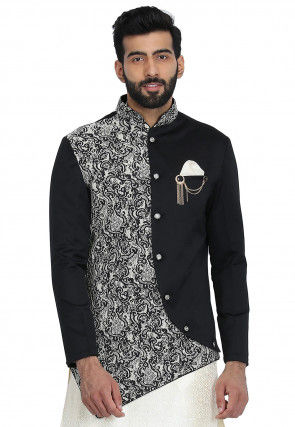 Printed Cotton Asymmetric Jacket in Black