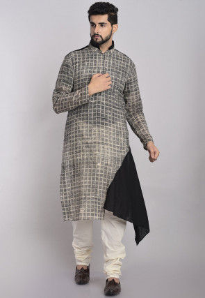 Printed Cotton Asymmetric Kurta in Grey and Black