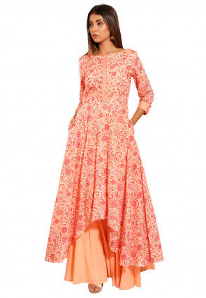 Printed Cotton Asymmetric Kurta in Peach