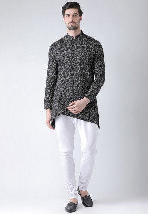 Printed Cotton Asymmetric Kurta Set in Black