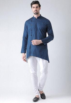 Printed Cotton Asymmetric Kurta Set in Navy Blue