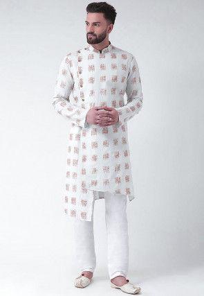 Printed Cotton Asymmetric Kurta Set in White