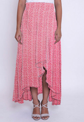 Printed Cotton Asymmetric Skirt in Red