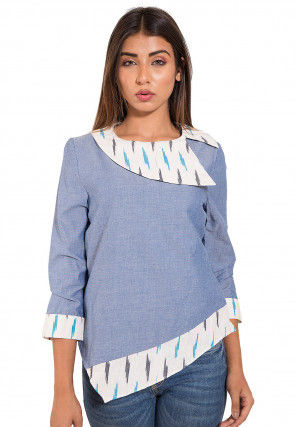 Printed Cotton Asymmetric Top in Sky Blue