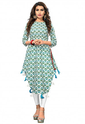 Printed Cotton Asymmetric Tunic in Off White and Light Green