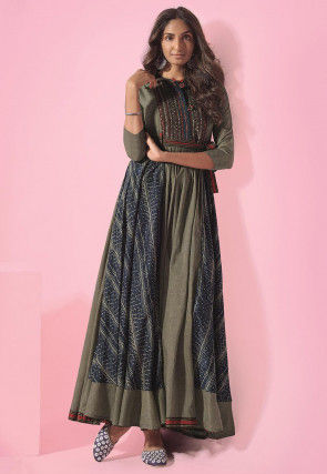 Printed Cotton Blend Gown in Dusty Green and Blue