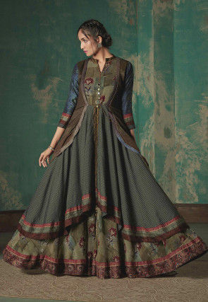 Printed Cotton Blend Jacket Style Gown in Blue and Green