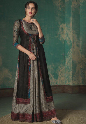 Printed Cotton Blend Jacket Style Gown in Grey and Black