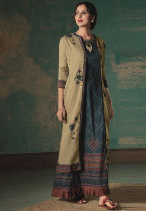 Printed Cotton Blend Jacket Style Gown in Teal Blue and Beige