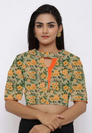Printed Cotton Blouse in Dusty Green