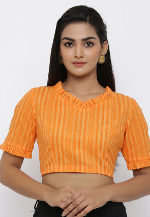 Printed Cotton Blouse in Orange
