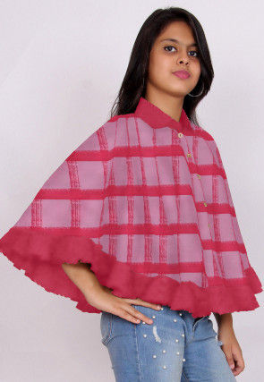 Printed Cotton Cape Style Top in Pink