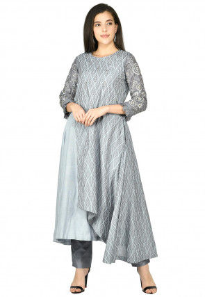 Printed Cotton Chanderi Kurta with Pant in Grey