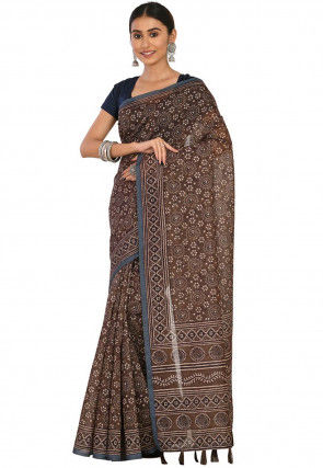 Printed Cotton Chanderi Saree in Brown