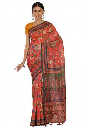 Printed Cotton Chanderi Saree in Coral Red