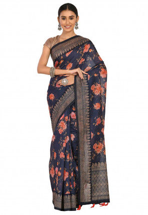 Printed Cotton Chanderi Saree in Dark Blue