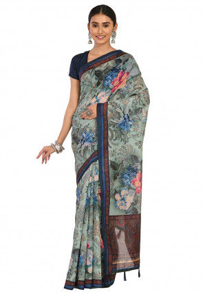 Printed Cotton Chanderi Saree in Dusty Green