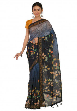Printed Cotton Chanderi Saree in Grey and Black