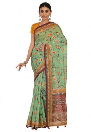 Printed Cotton Chanderi Saree in Light Green