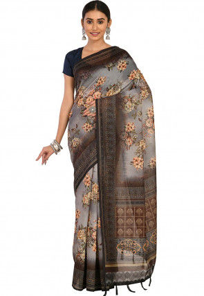 Printed Cotton Chanderi Saree in Light Grey