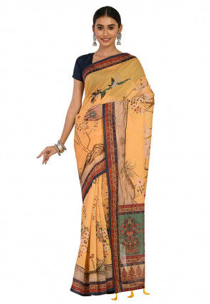 Printed Cotton Chanderi Saree in Light Mustard