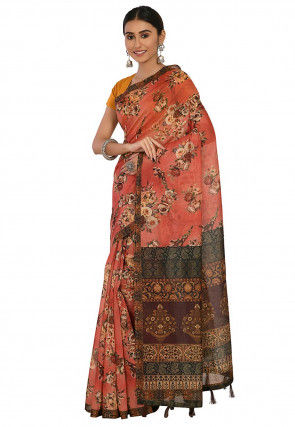 Printed Cotton Chanderi Saree in Light Red