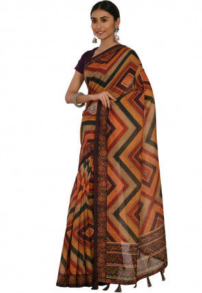 Printed Cotton Chanderi Saree in Multicolor