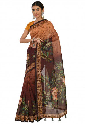 Printed Cotton Chanderi Saree in Shaded Brown
