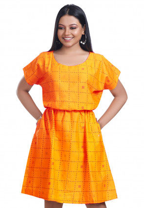 Printed Cotton Cinched Waist Dress in Mustard