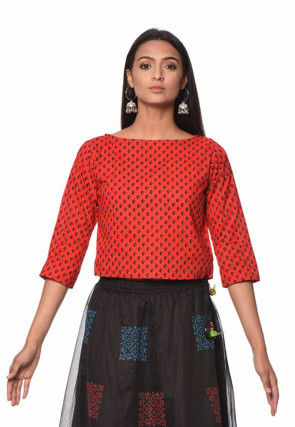 Printed Cotton Crop Top in Red
