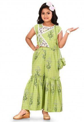 Printed Cotton Crop Top with Sharara in Light Green